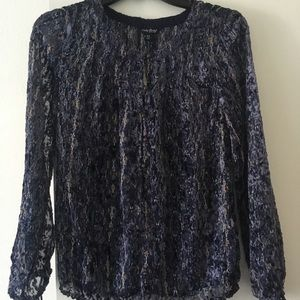 Lucky Brand- NWT blue sheer long sleeve top XS